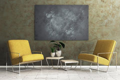 Living room with empty blackboard banner. Comfortable living room interior with armchair, table with green and empty blackboard on concrete wall. Mock up, 3D Stock Photos