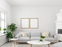 Living room with empty picture frames and fireplace. 3d rendering. 3d rendering. living room with empty picture frames and fireplace Royalty Free Stock Photo