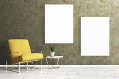 Living room with empty poster. Comfortable living room interior with armchair, table with green and empty poster on concrete wall. Mock up, 3D Rendering Royalty Free Stock Images