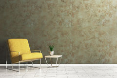 Living room with empty wall. Comfortable living room interior with armchair, table with green and empty concrete wall. Mock up, 3D Rendering Royalty Free Stock Images
