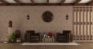 Living room in ethnic style. With leather armchairs and decor objects - 3d rendering Royalty Free Stock Photo