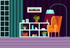Living room in evening with furniture, window and curtains. Modern flat cartoon style vector illustration. Interior. Background with armchair, lamp. On the royalty free illustration