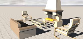 Living room with fireplace. 3d Living room with fireplace Royalty Free Stock Images