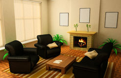 Living room with fireplace. Warm, comfortable living room with fireplace Royalty Free Stock Photography