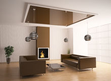 Living room with fireplace 3d. Interior of living room with fireplace 3d render Royalty Free Stock Photos
