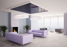 Living room with fireplace 3d Stock Photos