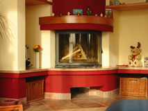 Living room with fireplace. Hearth and home Stock Photo