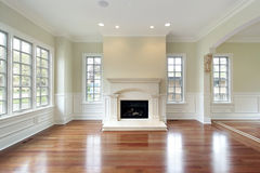 Living room with fireplace Stock Images