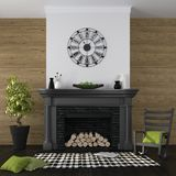 Living room with fireplace and black-and-green decor. Classic black fireplace on a background of a wall from boards and an emphasis on green decor Stock Photography