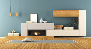 Living room with fireplace. Blue Living room with minimalist fireplace - 3d rendering Royalty Free Stock Photography