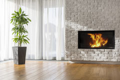 Living room with fireplace. Bright living room with fireplace, brick wall and decorative plant royalty free stock image