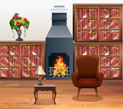 Living room with fireplace in center. Illustration Royalty Free Stock Photo