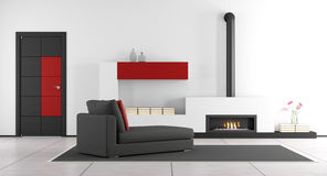 Living room with fireplace and chaise lounge. Contemporary living room with fireplace,chaise lounge and closed door - 3d rendering Stock Photography