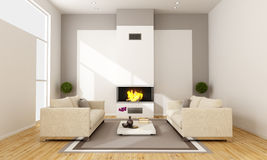 Living room with fireplace Royalty Free Stock Image