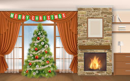 Living room with fireplace cristmas tree. Christmas Interior with fireplace and fir tree. Winter landscape outside the window on the street, in the fireplace Royalty Free Stock Images