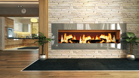 Living room with fireplace decor design. Living room with fireplace 3D design and rendering for your project Stock Images