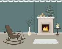 Living room with fireplace, decorated with Christmas decorations. The room has a rocking chair, a vase with decorative branches, Christmas tree with balls and royalty free illustration