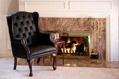Living room fireplace with hot chocolate Royalty Free Stock Photography