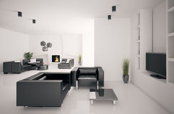 Living room with fireplace interior 3d Stock Photos