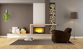Living room with fireplace and leather armchair. Brown lounge with minimalist  fireplace and vintage armchair - 3D Rendering Stock Photos