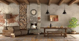 Living room with fireplace in rustic style Royalty Free Stock Images