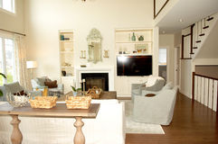Living room with fireplace and stairs. Royalty Free Stock Photos