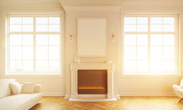 Living room with fireplace toning. Front view of classic living room interior with windows, wooden floor, white couch and a blank picture frame above fireplace Royalty Free Stock Images