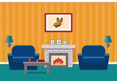 Living room with fireplace. Vector graphic. Room interior. Vector. Living design lounge with fireplace and furniture. Cartoon background in flat design Stock Image