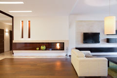 Living room with a fireplace Stock Image