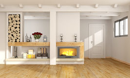 Living room with fireplace. White living room with fireplace,wooden beams and closed door on background - 3D Rendering Royalty Free Stock Images