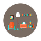 Living Room Flat Circle Icon over Brown Royalty Free Stock Images