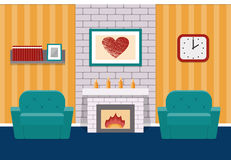 Living room flat interior. Vector graphic. Living room interior in flat design with fireplace and armchairs. Vector background. Cartoon lounge with furniture Royalty Free Stock Images
