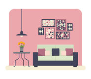 Living room. Flat style  illustration of a living room with modern furniture Stock Photography