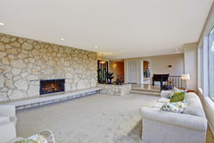 Living room with fountain in luxury house Royalty Free Stock Photo