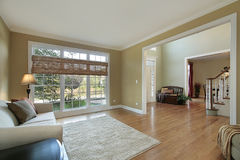 Living room with foyer view Royalty Free Stock Photo
