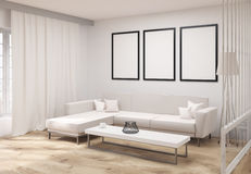Living room with frames side Royalty Free Stock Photography