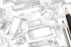 Living room freehand sketch architectural drawing with pencils Royalty Free Stock Images