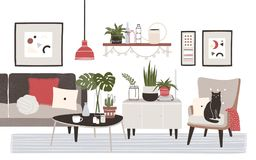 Living room full of cozy furniture and home decorations - sofa, armchair, coffee table, shelf, wall pictures, potted. Plants. Apartment furnished in modern vector illustration