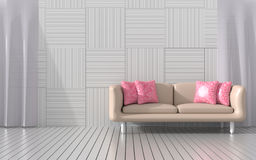 The living room is furnished with  furniture`s color of love for valentine day. Royalty Free Stock Photography