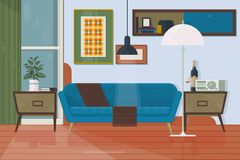 Living room with furniture. Armchair, couch, torchere, cupboard, sofa, painting. Isolated vector objects. Flat vector illustration. Living room with furniture Stock Photos