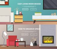 Living Room Furniture Banner. Living room interior design and furniture horizontal banner set isolated vector illustration Royalty Free Stock Photography