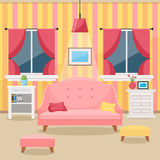 Living room with furniture. Cozy interior. Flat style vector Royalty Free Stock Image