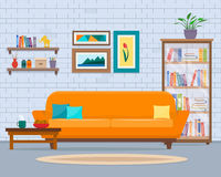 Living room with furniture. Cozy interior with sofa and tv. Flat style vector illustration Royalty Free Stock Photo