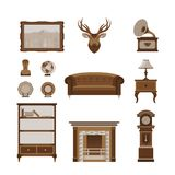 Living Room Furniture and Decoration Isolated Set Stock Photography