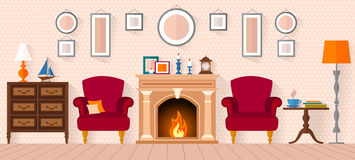 Living room with furniture and a fireplace. Flat style vector illustration Stock Photos