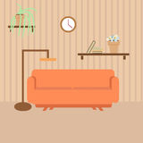 Living room with furniture in flat style Royalty Free Stock Photography
