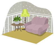Living room with furniture. Flat style vector illustration Royalty Free Stock Photo