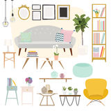 Living room. Furniture and Home Accessories, including sofas, lo Stock Images