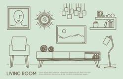 Living Room Furniture. Living room interior design with outline furniture set vector illustration Royalty Free Stock Photo
