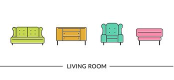 Living room furniture line icons  for web. Living room furniture line icons for web or print Stock Photo